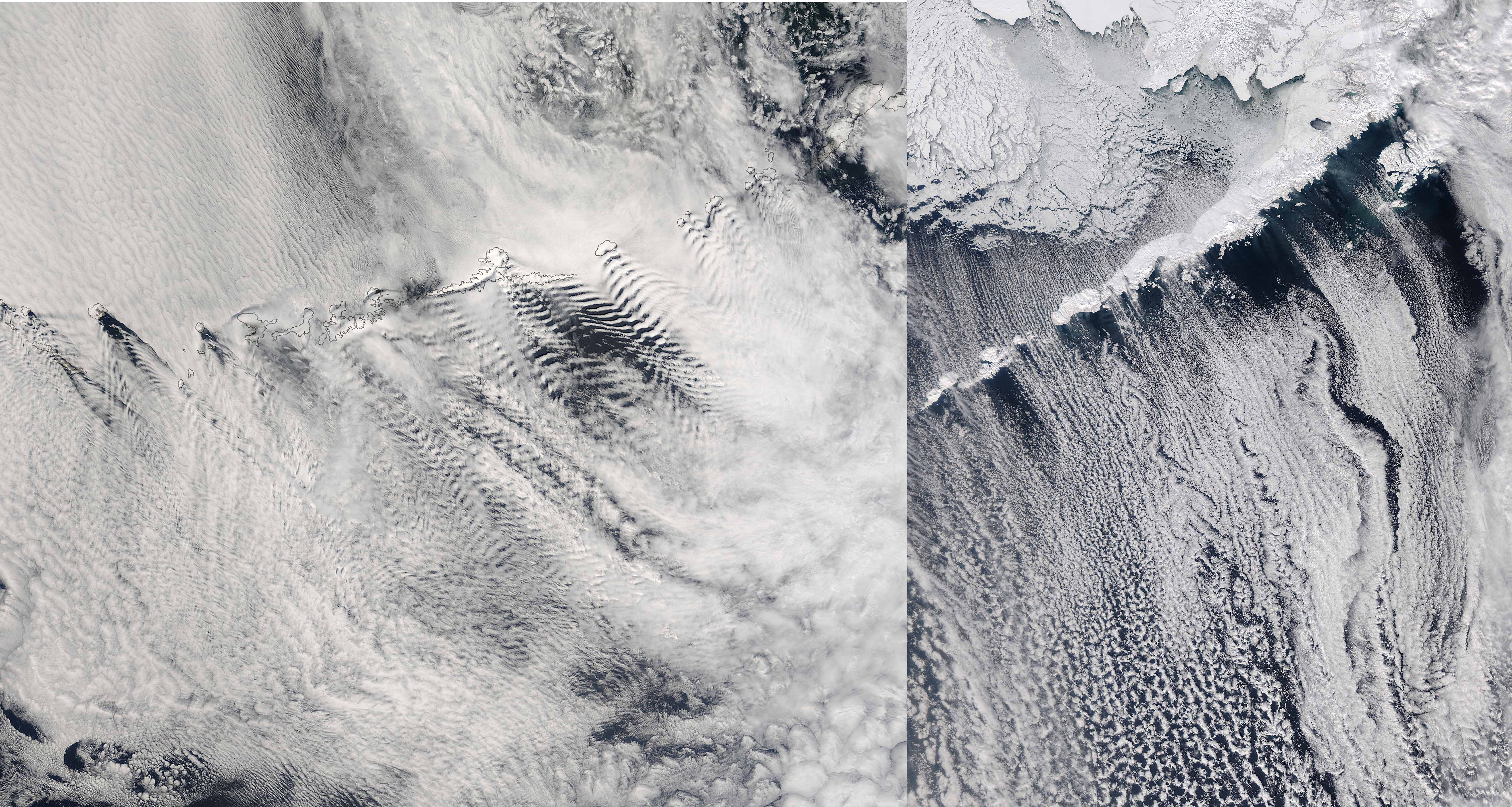 Gravity waves and vortices downstream of the Aleutian Islands on ??? (left) and ??? (right) (source: EOSDIS NASA)