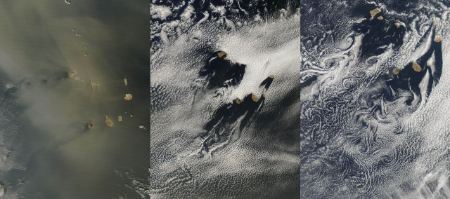 The wakes of the Cape Verde islands. The islands interacting with a suspended Saharan sand (left) on the DATE. The other images are from DATE (middle) and DATE (right)