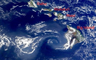 The vortex forming on the wake of the Big Island on November 8 2012 (source: EOSDIS NASA)