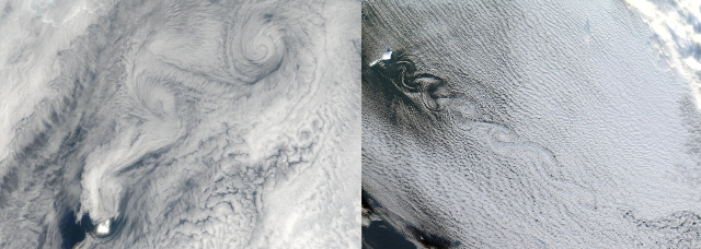 Vortices forming downstream of Jan Mayen on ??? (left) and ??? (right) (source: EOSDIS NASA)