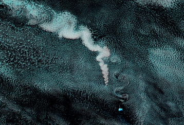 Volcanic Ash illustrating the vortices downstream of  Z Island April ?? 2012 (source: EOSDIS NASA)