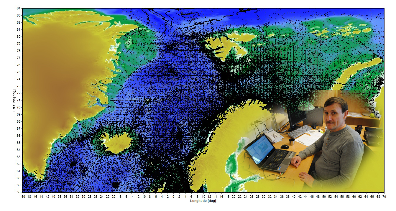 Alexander Korablev and his colleagues have been developing a new climatological atlas for the Nordic Seas and Northern North Atlantic based on more than 500 000 in-situ oceanographic stations (black dots in the figure).