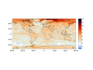 The global distribution of warming at the time of 2oC above pre-industrial levels using the Norwegian Earth System Model (NorESM). Temperatures are shown relative to the mean for the period 1850-1900 (from Medhaug and Drange, in preparation).