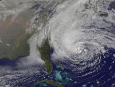 Picture 3: NOAA's GOES-13 satellite captured this visible image of the massive Hurricane Sandy on Oct. 28 at 1302 UTC (Picture from www.nasa.gov)