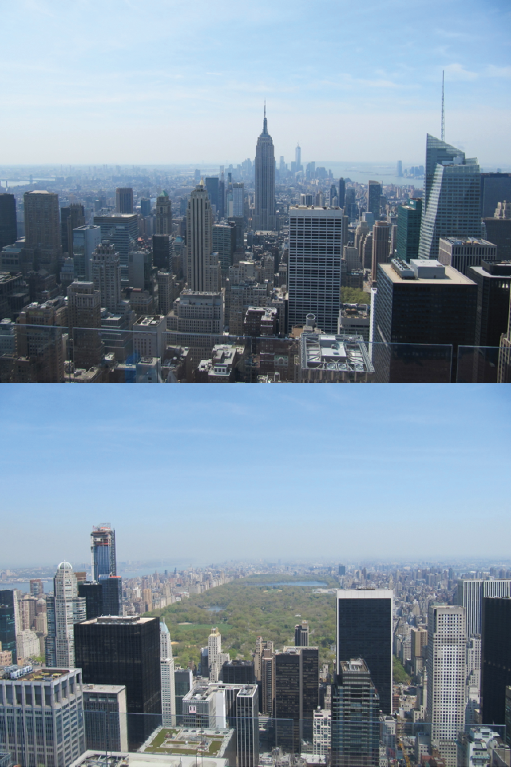 Picture 1: View of New York City from Rockefeller Center. Upper part looking to the south, Empire State Building in the foreground. Lower part looking to the north, Central Park in the middle. (Picture: hella Wittmeier)
