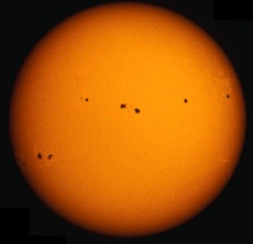 When the Sun is most active it is covered in dark sunspots. During this period of high solar activity the Sun's overall energy output increases.