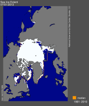 Figure 1:  Sea ice extend on 29.June 2013. The figure is taken from the National Snow & Ice Data Center