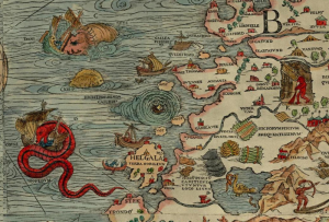 Figure 2. The Maelstrom off Norway, as illustrated by Olaus Magnus on the Carta Marina, 1539 (source: Wikipedia)