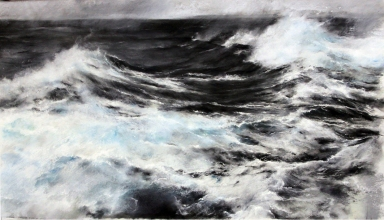 "Painting of whitecapping surface waves ""Bound for the Skerries"" by Janette Kerr. 115x190cm, charcoal, chalk, graphite on canvas. The painter connected with wave researchers to bring about a series of artworks that relate art and science. http://extremewavetheory.blogspot.no/"