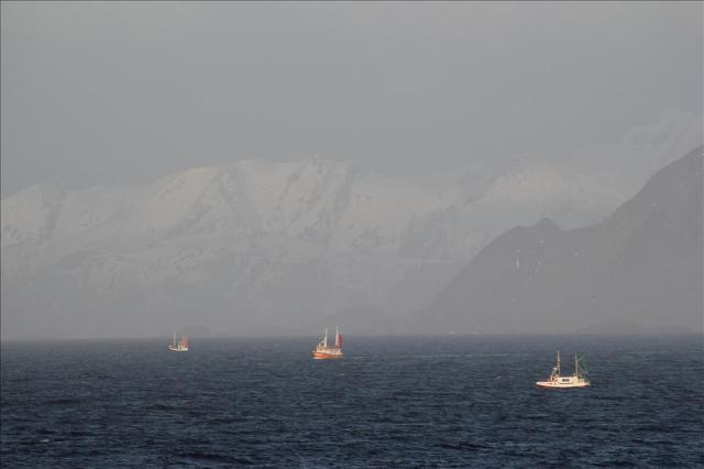Small fishing boats near the Lofoten peninsula, relying on wave predictions for their safety. Photo by Kai Håkon Christensen.