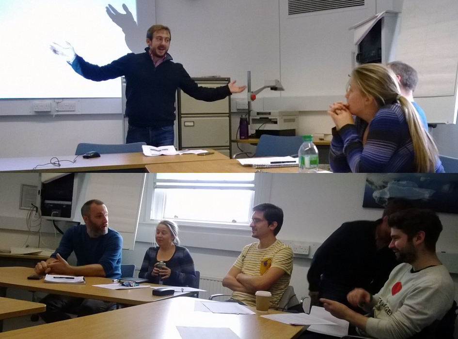 Will Ball's introduction gave lots for the UCL ClimateSnack to talk about (photo: Rachel White)