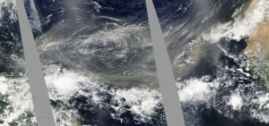 A dust storm is swept from the Sahara across the Atlantic in June 2009. Images from NASA's MODS instrument. Image: NASA Earth Observatory