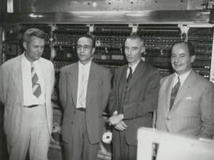 By Ibigelow (Own work) [CC-BY-SA-3.0 (http://creativecommons.org/licenses/by-sa/3.0)], via Wikimedia Commons. Left to right: Julian Bigelow, Herman Goldstine, J. Robert Oppenheimer, and John von Neumann at Princeton Institute for Advanced Study.