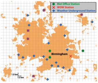 Location of weather stations in the vicinity of Birmingham.